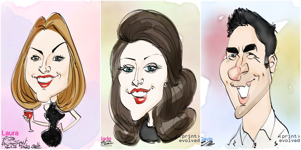 Caricaturist office Christmas party