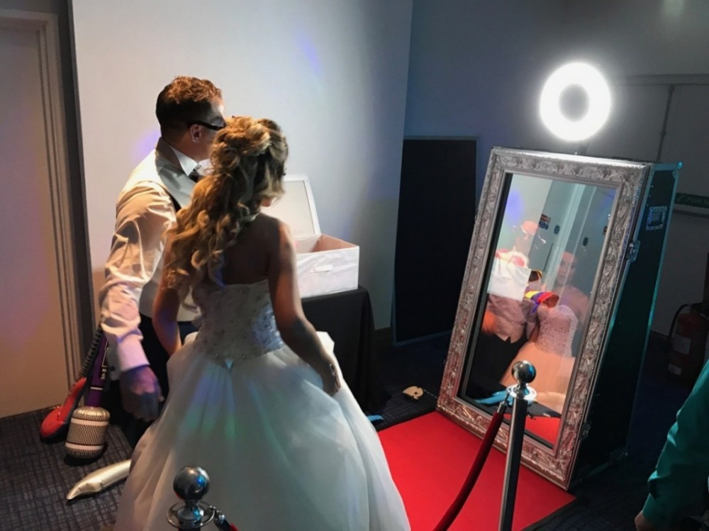 magic mirror taking selfie photos at wedding