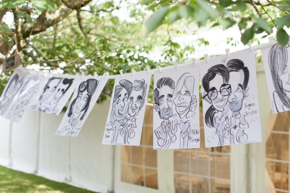 caricaturist work at a wedding