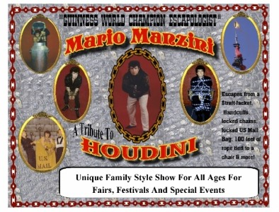 Mario Manzini, Corporate Comedy Magician, Escapologist Guinness World Champion Magical Entertainer  - Comedy Cabaret Magician