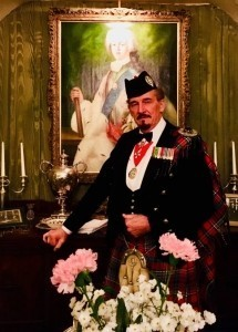 Pipe Major David Waterton-Anderson, KSG, KMM, OLJ, OMLJ. - Bagpiper